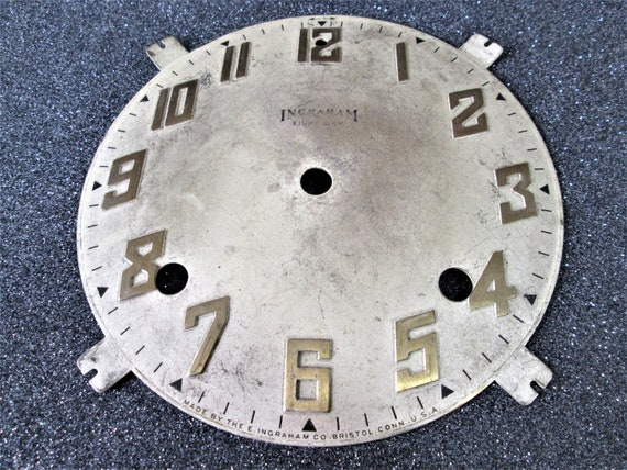 """5 3/4"""" Heavy Metal Ingraham 8 Day Clock Dial for your Clock Projects - Art -Stk# 378"""