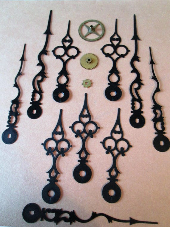 5 Pairs of 2 Sizes of Vintage Black Serpentine/Gothic Design Clock Hands for your Clock Projects, Jewelry Crafts, Steampunk Art