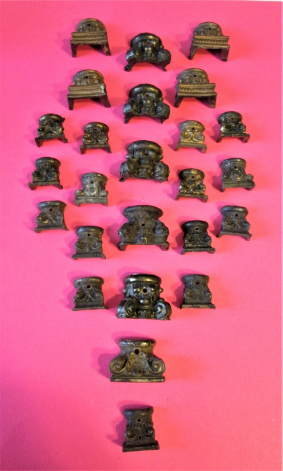 25 Assorted Antique & Vintage Cast Metal Small Mantle Clock Feet for your Clock Projects, Steampunk Art + Etc.. Stk#502