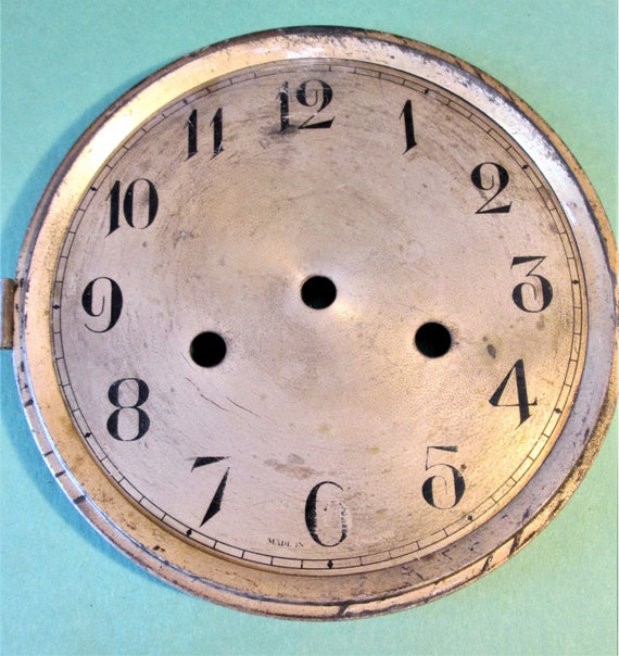 """Old and Worn English Made Tin 6 1/8"""" Clock Dial for your Clock Projects, Steampunk Art.Stk#603"""