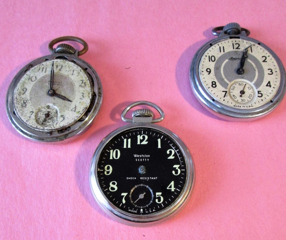 2 Vintage Westclox and 1 Ingersoll Partial Pocket Watches for your Watch Projects, Steampunk Art, Jewelry Crafts and Etc...