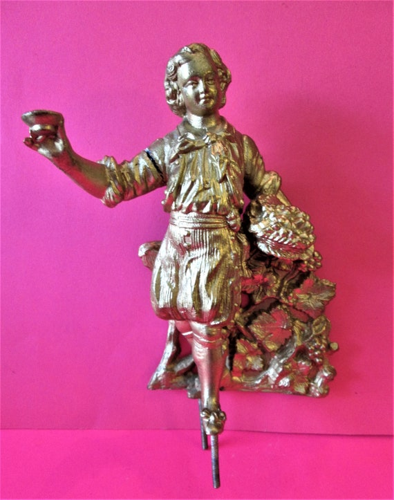 1 Beautiful Vintage Large Shiny Gold Painted Boy with Basket and Cup Heavy Cast Metal Clock Topper/Furniture Ornament *Slightly Damaged*