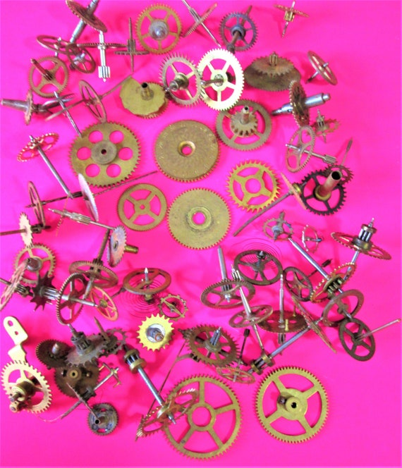 70 Piece Lot of Assorted Antqiue & Vintage Brass Clock Parts for your Clock Projects - Steampunk Art - Jewelry Crafts - Stk# 457532
