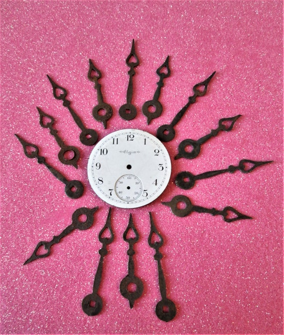 """7 Pairs of Vintage Heart Design Antiqued """"Rusty"""" Look Dark Brown Clock Hands for your Clock Projects, Jewelry Crafts, Steampunk Art Stk#801"""