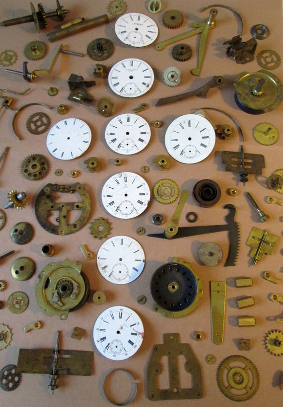 Super Large Assortment of Ceramic Pocket Watch Dials and Antique Clock Parts & Hardware for your Watch/Clock Projects - Steampunk Art + Etc.