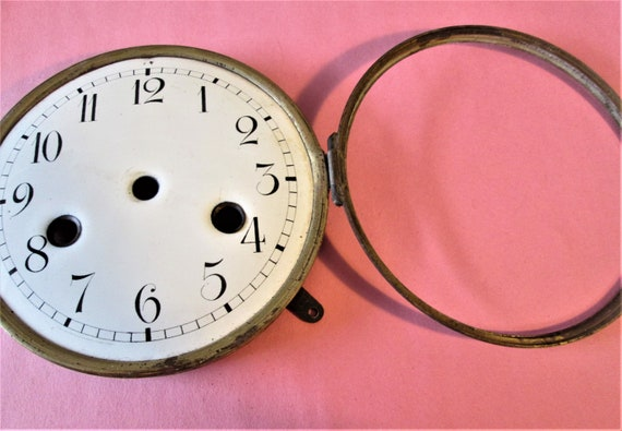 """5 1/4"""" Antique Porcelain Clock Dial with Brass Bezel for your Clock Projects - Art - Stk# 103"""
