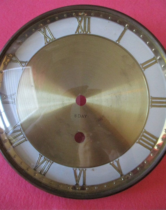 """6"""" Vintage Solid Brass and Brass Plated Steel German 8 Day Clock Dial, Bezel and Domed Glass for your Clock Projects - Art - Stk# 845"""