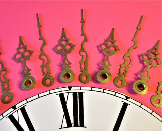 12 Pairs of Vintage Shiny Brass Plated Steel Serpentine Style Clock Hands for your Clock Projects, Steampunk Art - Jewelry Making Stk# 904