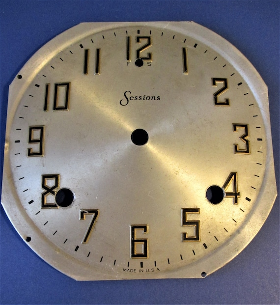 """Pressed Tin 5 5/8"""" Sessions Clock Co. Domed Dial with 3/4"""" Tall Numbers for your Clock Projects, Steampunk Art...Stk#615"""