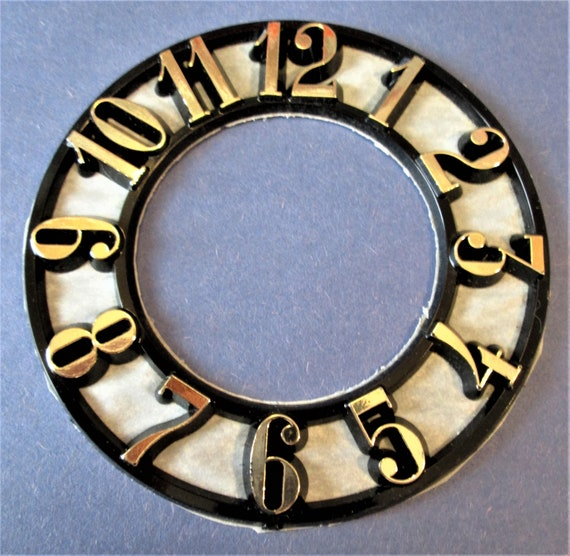 """3 3/4"""" Round Thick Plastic Clock Dial Press On with 5/8"""" Gold Numbers for your Clock Projects, Scrap Booking, Steampunk Art Stock#58"""