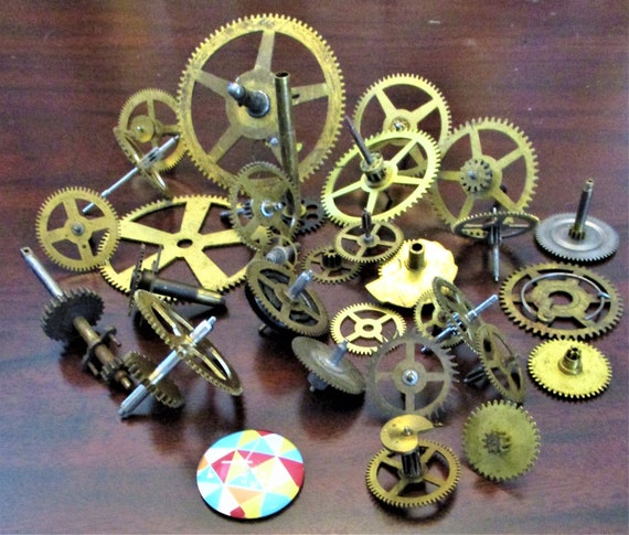 30 Assorted Antique Clock Wheels With Other Parts Attached for your Clock Projects - Steampunk Art - Stk# 391