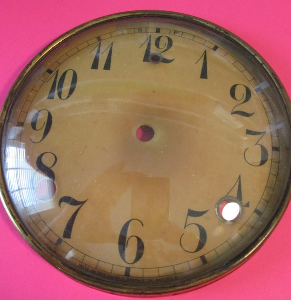 """NIce Old & Faded U.S. Made 5 1/2"""" Clock Dial with Domed Glass Bezel and 3/4""""  Numbers for your Clock Projects"""