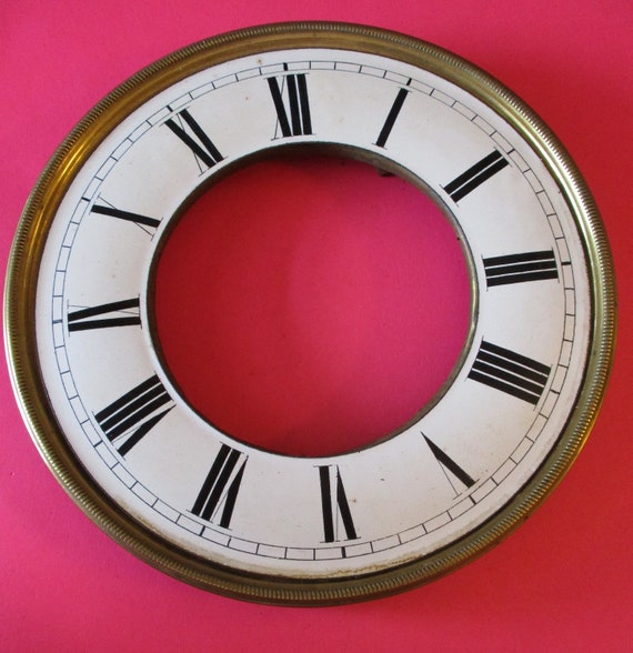 """7 1/4"""" Porcelain and Brass Antique Vienna Style Clock Dial for your Clock Projects - Art  Stk# 329"""