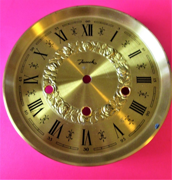 """7 1/4"""" Shiny Brass Plated Steel French Style Clock Dial With Mounting Plate for your Clock Projects & Etc Stk # 171"""