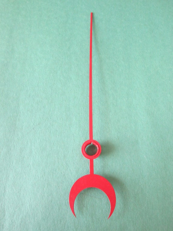"1 Red Painted 7 1/2"" Steel Moon Style Calendar Clock Hand for your Clock Projects, Steampunk Art, Jewelry Making & Etc..."