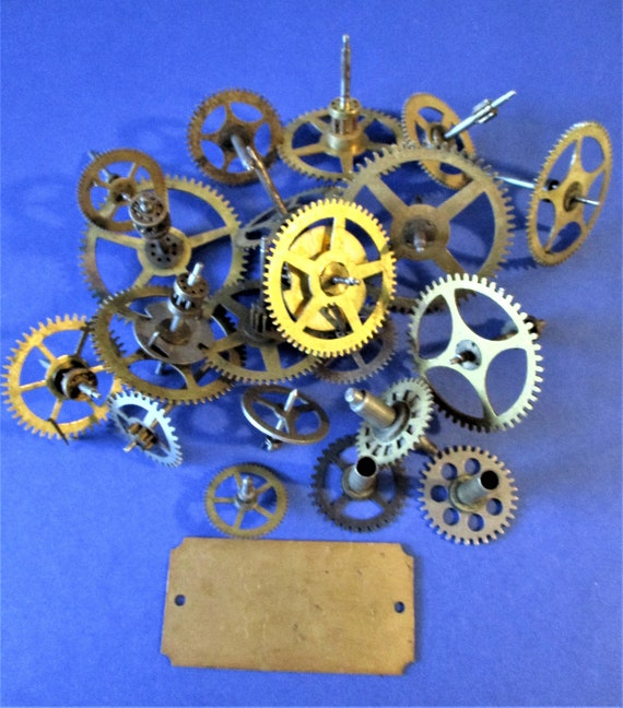 20 Brass & Steel Antique Clock Wheels and Gears for your Clock Projects - Steampunk Art - Stk# 177