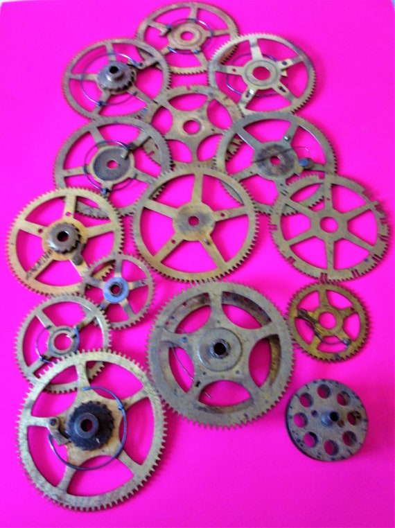 15 Large Solid Brass and Steel Antique Clock Wheels with Assorted Parts Attached for your Clock Projects - Steampunk Art - Stk# 405