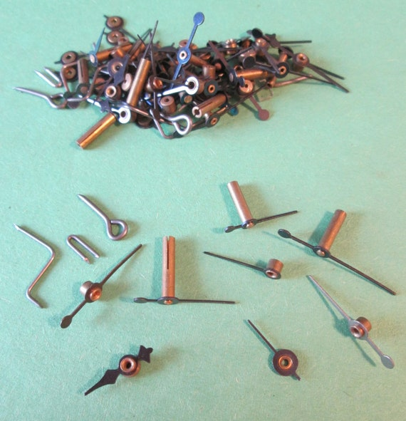Nice Lot of Small Solid Brass and Steel Clock Second Hands and Compass Pointers
