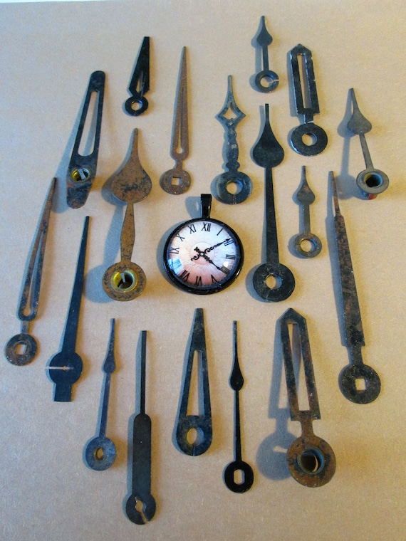 18 Old, Rusty & Dusty Clock Hands - for your Clock Projects , Jewelry Making, Steampunk Art  Etc...