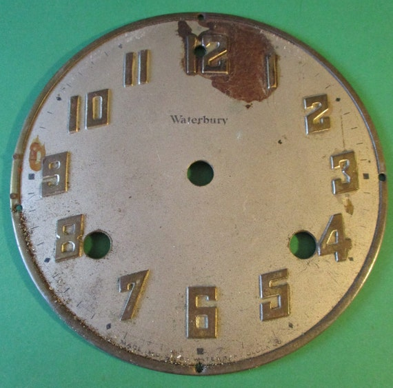 "5 1/2"" Old and Dirty Waterbury Thick Steel Clock Dial for your Clock Projects - Art - Stk# 789"
