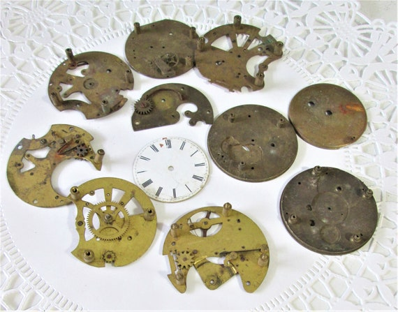 11 Assorted Old Brass Pocket Watch Parts for your Watch Projects, Steampunk Art and Etc..Stk# W36