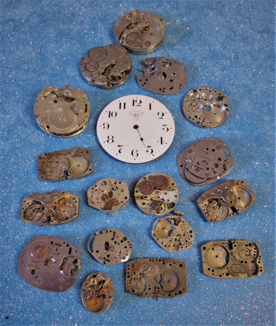 17 Assorted Vintage Wrist Watch Parts for your Watch Projects, Steampunk Art, Jewelry Making and Etc..Stk# W17