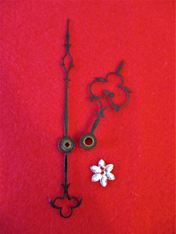 1 Pair of Original Antique Fancy Tall Case Steel Clock Hands for your Clock Projects Stk# 880