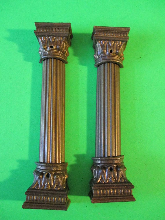 Set of 2 Vintage Reproduction Mantel Clock Pressed Steel Columns with Cast Metal Braces  Stk# 205