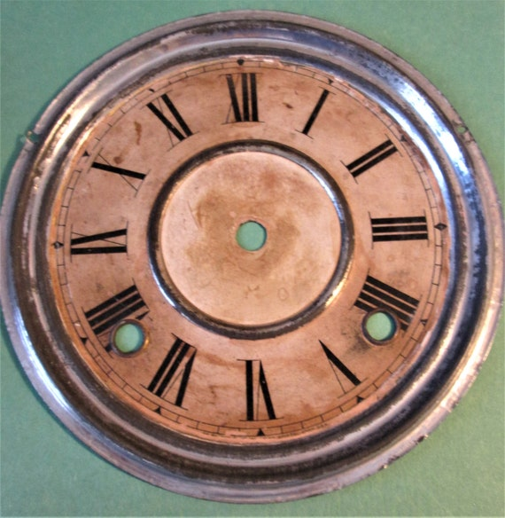 """Old and Worn 6 1/2"""" Paper on Tin Clock Dial for your Clock Projects, Steampunk Art...Stk#608"""