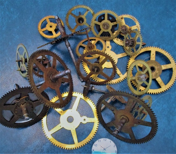 20 Assorted Large and Medium Sized Antique Clock Wheels With Other Parts Attached for your Clock Projects - Steampunk Art - Stk# 401