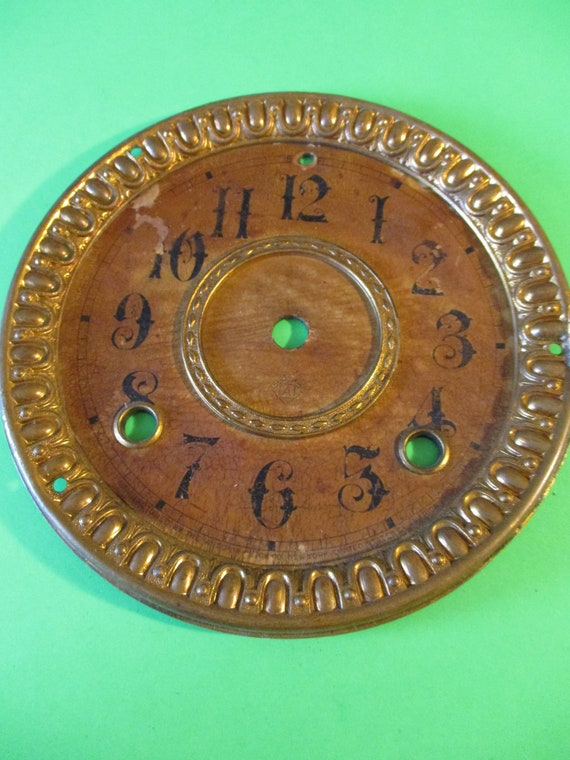 "5 3/4"" Antique Ansonia Clock Dial - Paper on a Tin Pan and Fancy Solid Pressed Brass Bezel - For your Clock Projects - Art - Stk# 752"