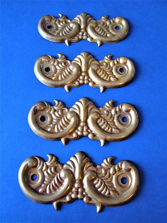 4 Vintage Solid Pressed Brass Furniture/Clock Ornaments for your Projects - Steampunk Art and Etc..Stk#711