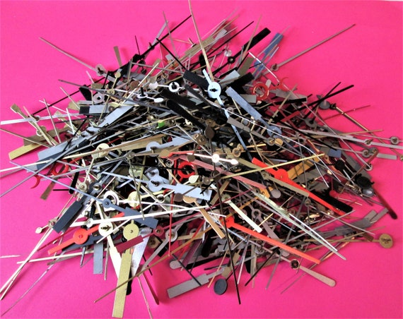Hundreds of Assorted Aluminum and Steel Clock Second Hand for your Clock Projects, Steampunk Art Stk#140