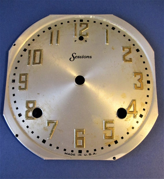 """5 5/8"""" Pressed Tin Sessions Clock Co. Domed Dial with 3/4"""" Tall Numbers for your Clock Projects, Steampunk Art...Stk#619"""