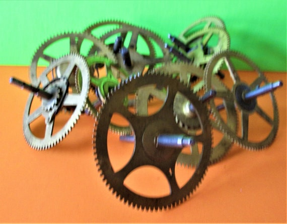 10 Large Solid Brass and Steel Antique Clock Wheels with Assorted Parts Attached for your Clock Projects - Steampunk Art - Stk# 399