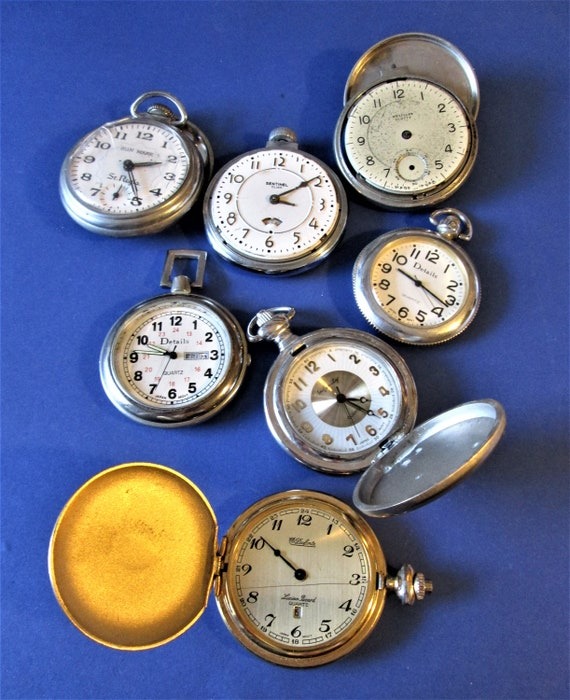 7 Assorted Vintage Pocket Watches for Repair/Parts Stk #W71