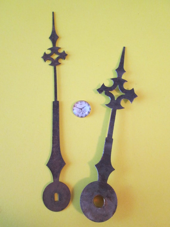 """1 Pair of Large Antique 5 3/4"""" and 4 5/8"""" Steel Maltese Design Clock Hands for your Clock Projects, Jewelry Making, Steampunk Art"""