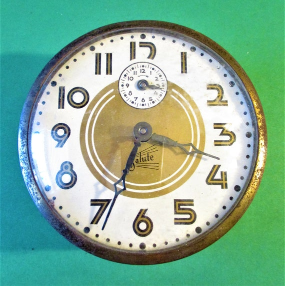"""Vintage Partial Alarm Clock  4"""" Wide with Domed Glass - For Parts/Repair - stk# 854"""
