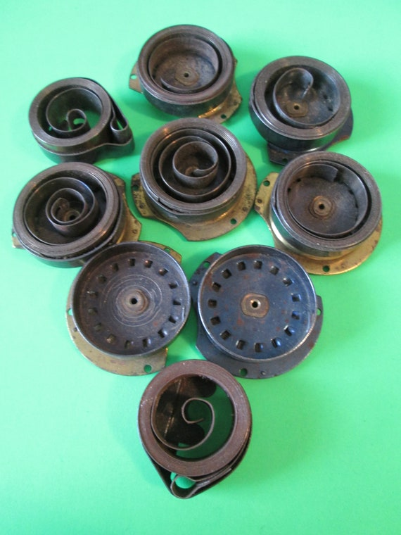 7 Assorted Partial Westclox Big Ben Alarm Clock Mainsprings and 2 Loop End Springs for your Clock Projects - Steampunk Art Stk#384