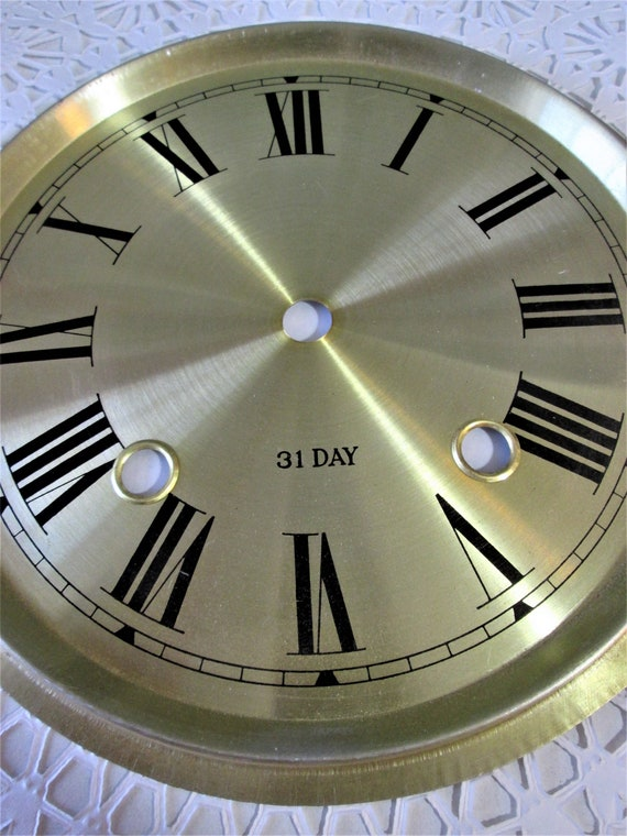 """7 1/2"""" New Shiny Brass Colored Aluminum Clock Dial with 7/8"""" Roman Numerals Stk#100"""