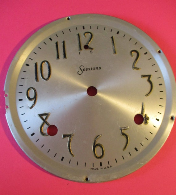 "6 1/2"" Vintage Pressed Aluminum Sessions Clock Dial for your Clock Projects - Art - Stk# 782"