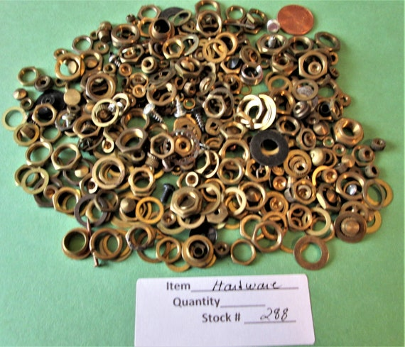 9 Ounces of Assorted  Brass and Steel Hardware and Misc. Items for your Antique & Vintage Clock Projects,  Steampunk Art Stk#288