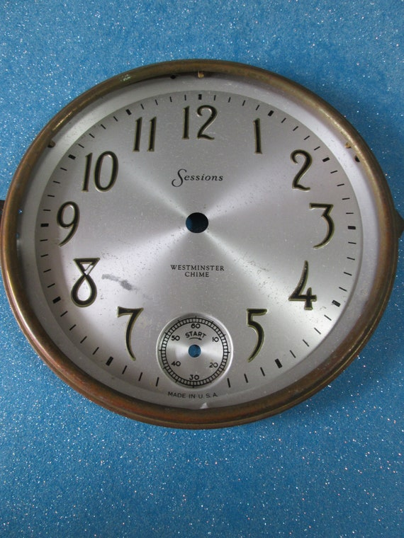 """6 1/2"""" Wide Vintage Sessions Pressed Aluminum Clock Dial with Outer Brass Bezel for your Clock Projects - Art - Stk# 384"""