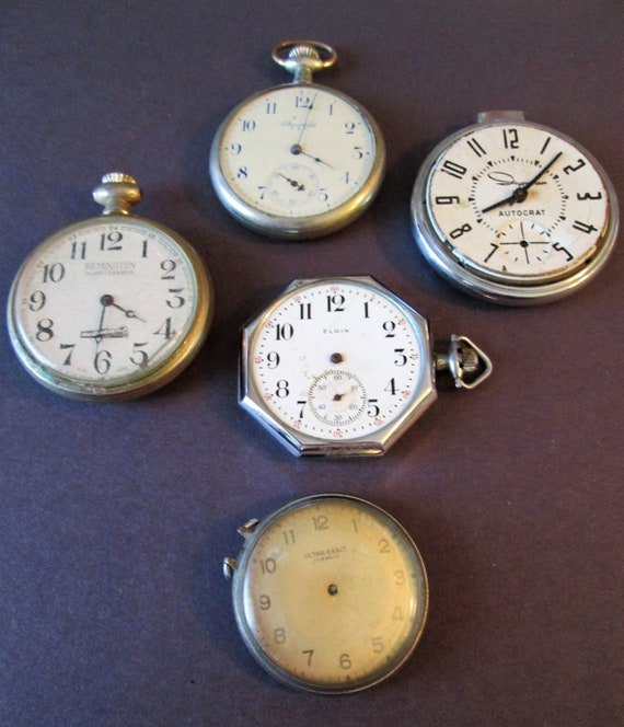 5 Assorted Antique & Vintage Partial Pocket Watches for your Watch Projects, Steampunk Art, Jewelry Crafts and Etc...