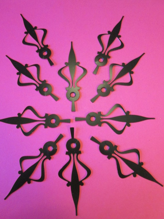 10 Vintage Large Black Aluminum Clock Hour Hands for your Clock Projects, Jewelry Crafts, Steampunk Art Stk#189