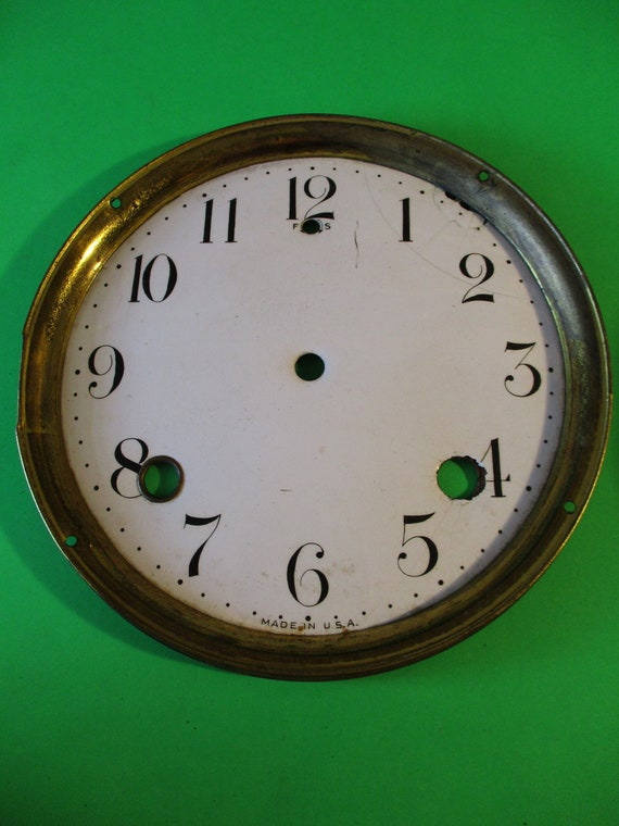 "6 3/8"" Vintage Porcelain Clock Dial with Brass Bezel  - For your Clock Projects - Art - Stk# 784"