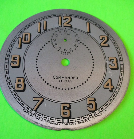 """4 3/8"""" Steel Ingraham Commander Alarm Clock Dial for your Clock Projects - Art Stk# 154"""