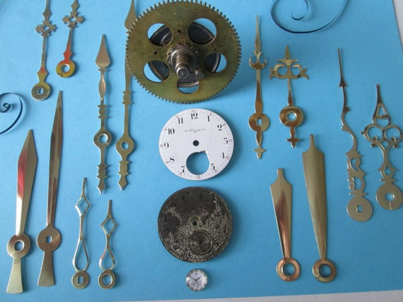 Steampunk Art Goodies - 1 Large Antique Solid Brass and Steel Clock Gear, 2 Pocket Watch Dials and 7 pairs of Assorted New Clock Hands
