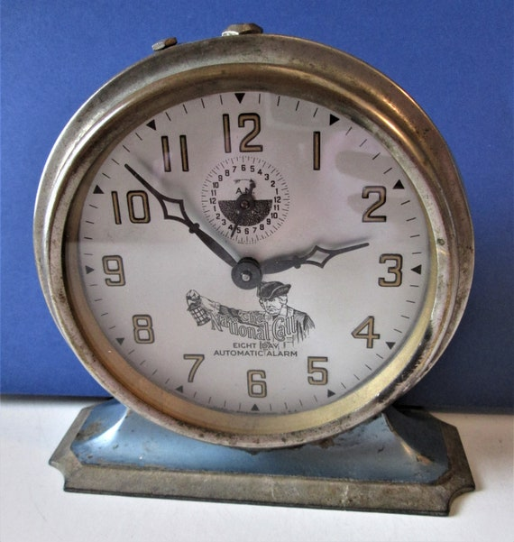 Large and Old Partial National Call 8 Day Auto Alarm Clock (Bristol, Conn) for Reparis/Parts