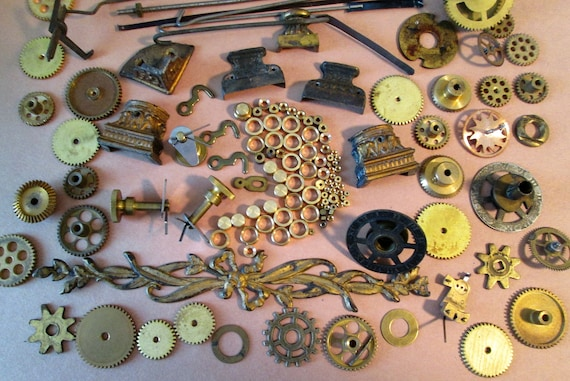 Steampunkers Lot of Antique & Vintage Clock Parts and Pieces for your Clock Projects, Steampunk Art, Jewelry Making and Etc..
